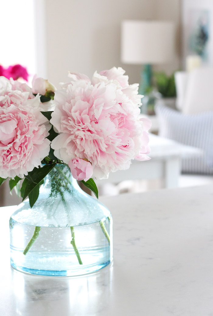Pink Peonies in Aqua Glass Vase