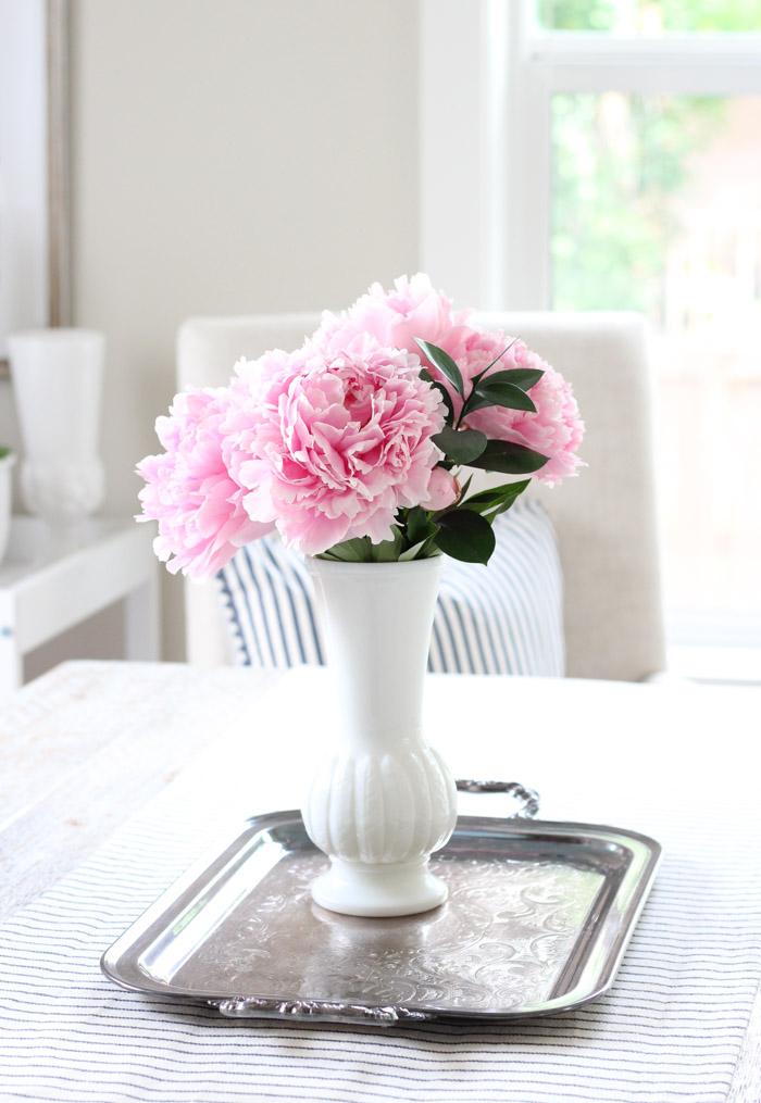 Pink Peonies in Randall Milk Glass Vase
