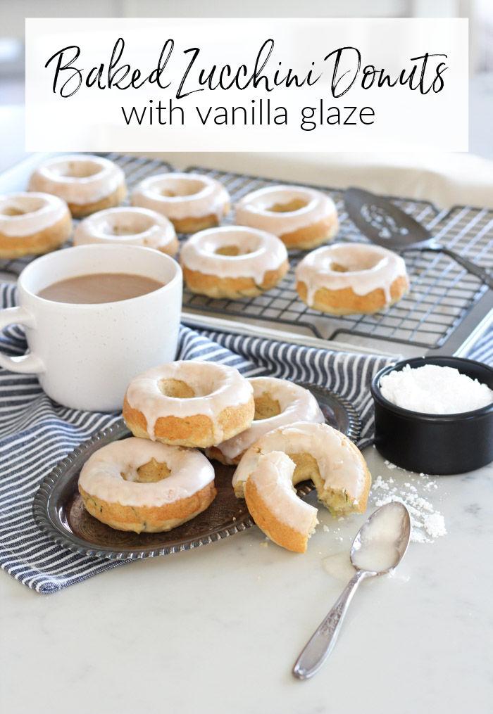 Gluten Free Baked Zucchini Donuts with Vanilla Glaze
