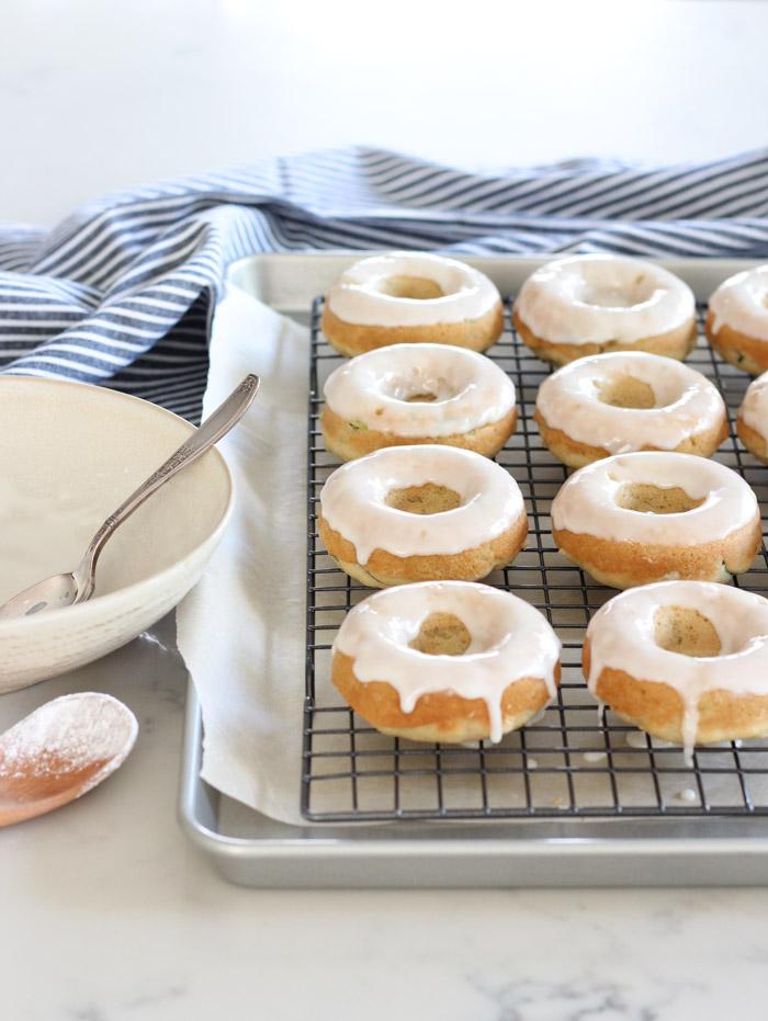 Gluten Free Zucchini Donuts with Vanilla Glaze on Baking Rack