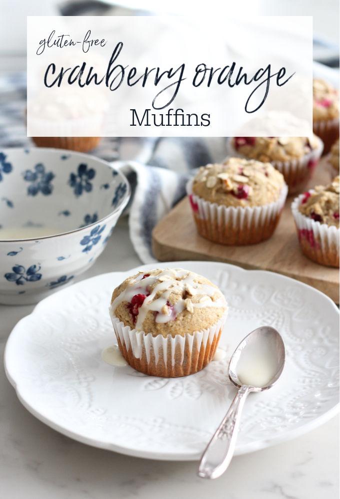 Gluten Free Cranberry Orange Oat Muffins with Glaze