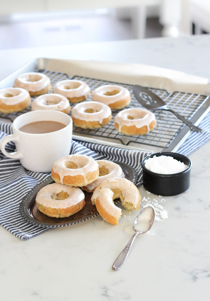 Batch of Homemade Donuts on Marble Countertop