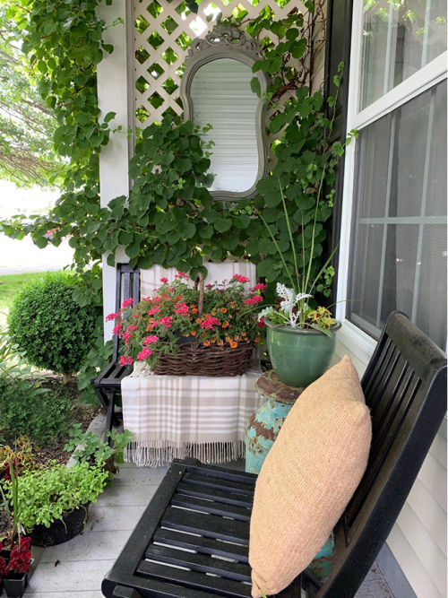 Summer Front Porch Decorated with Mirror