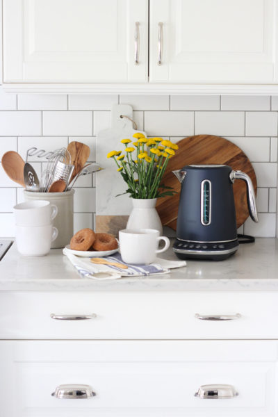 Breville Damson Blue Luxe Kettle in White Kitchen