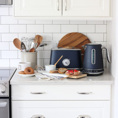 Breville Damson Blue Toaster and Kettle in White Kitchen