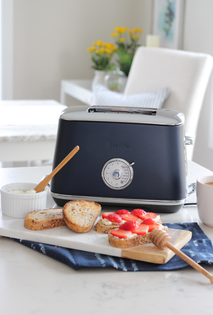Blue Breville Toaster on White Kitchen Countertop
