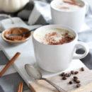 Pumpkin Spice Latte in White Mug on Marble Board