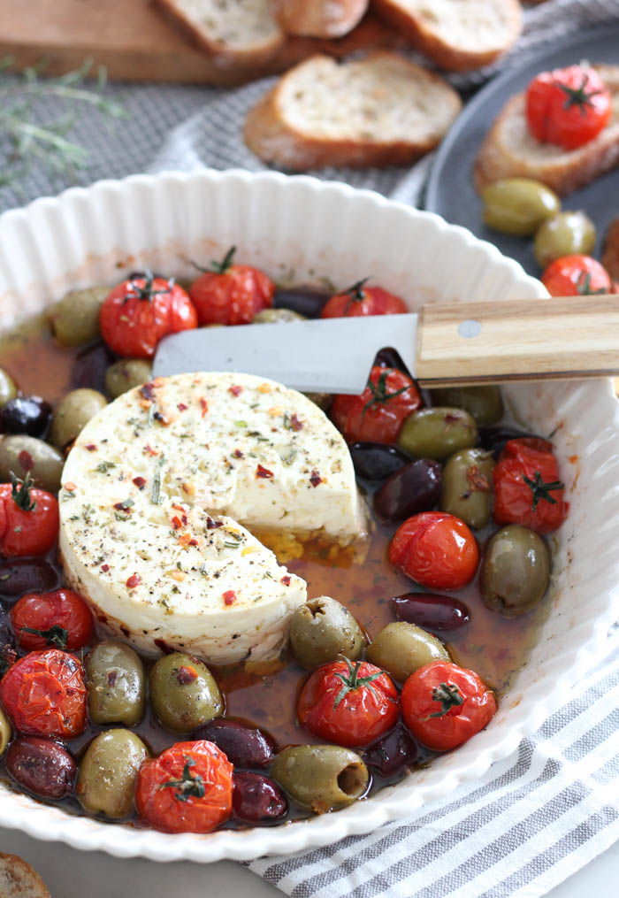 Baked Feta with Cherry Tomatoes and Olives in White Dish