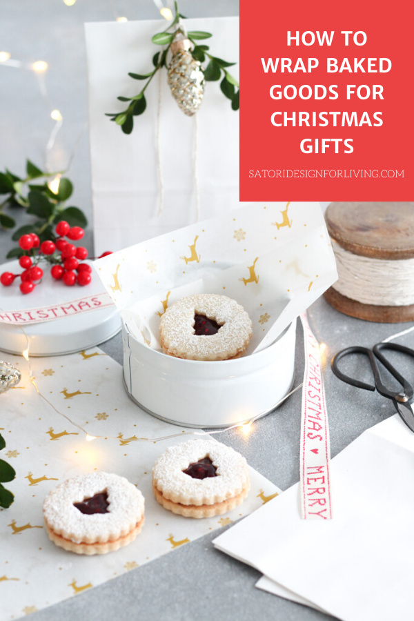 Christmas Cookies Packaged in White Tin with Reindeer Parchment Paper, Red Merry Christmas Ribbon and Boxwood