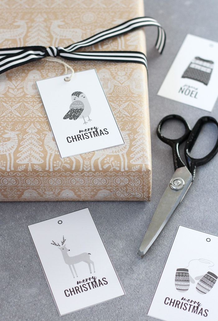 Black and White Christmas Gift Tags in Owl, Deer, Mittens and Sweater