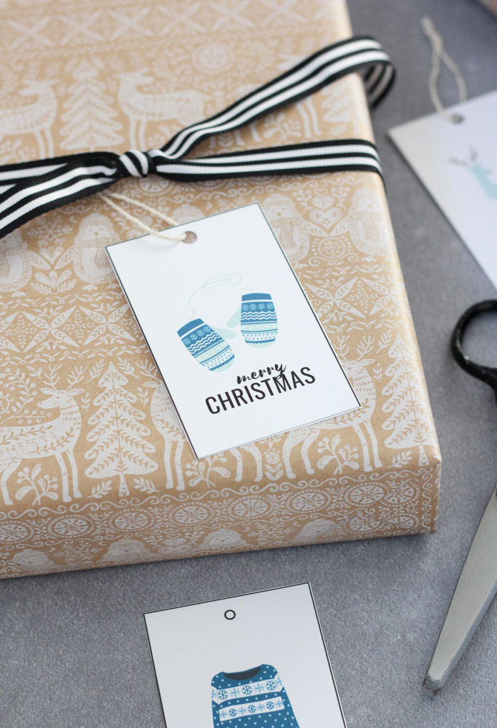 Christmas Gift Tags with Argyle Blue Mittens and Sweater