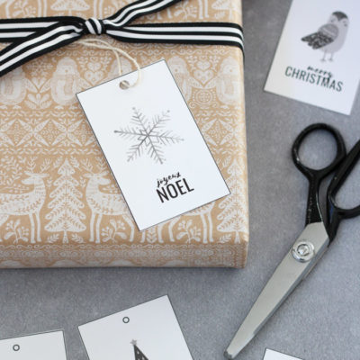 Printable Christmas Gift Tags - Joyeux Noel Snowflake