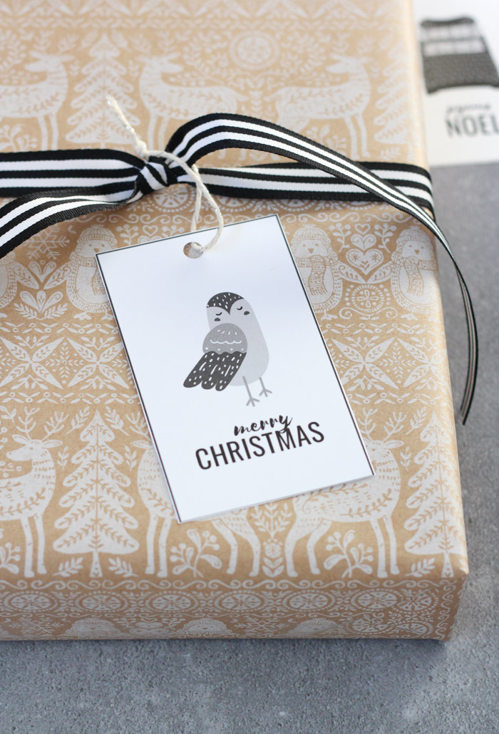 Winter Owl Merry Christmas Gift Tag on Gift with Craft Paper Wrap and Black Striped Ribbon