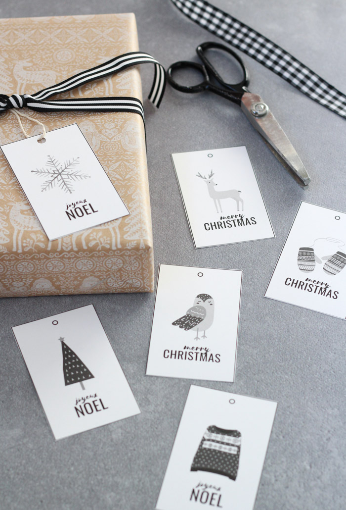 Black and White Christmas Gift Tag Printables in Winter Woodland Theme