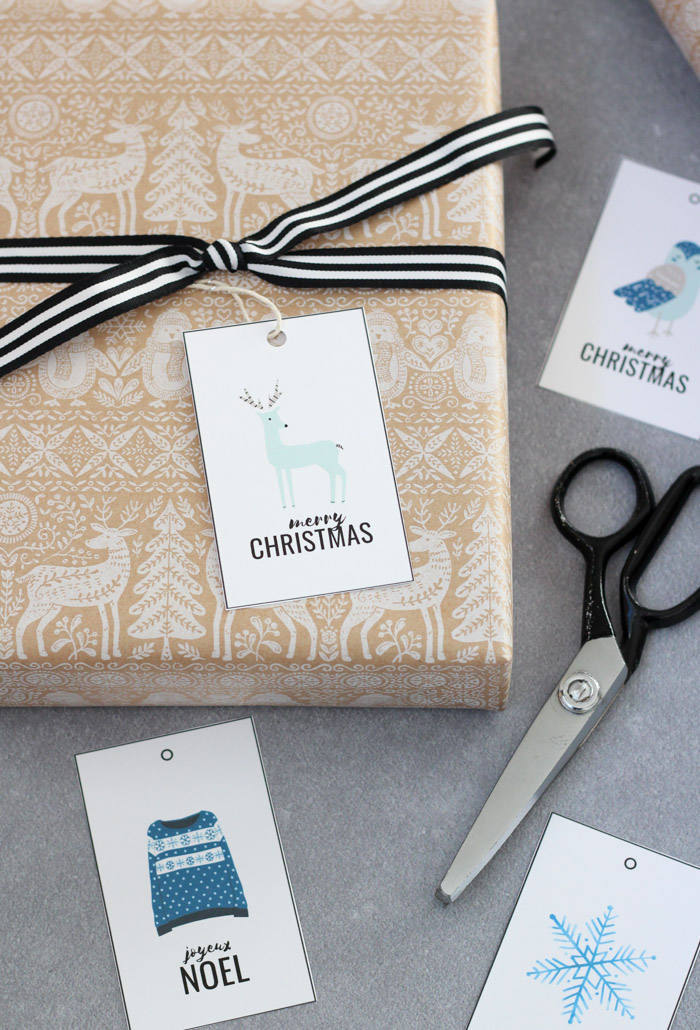 Printable Christmas Gift Tags with Deer, Owl, Sweater and Snowflake in Blue