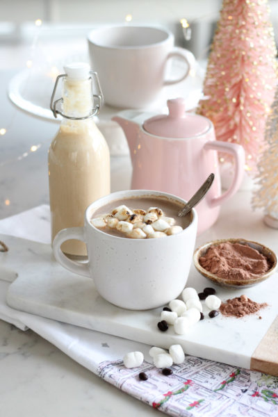 Homemade Toasted Marshmallow Creamer in Glass Bottle with Mocha in White Mug