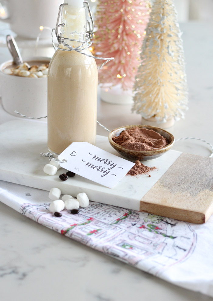 Homemade Toasted Marshmallow Creamer in Glass Bottle with Gift Tag