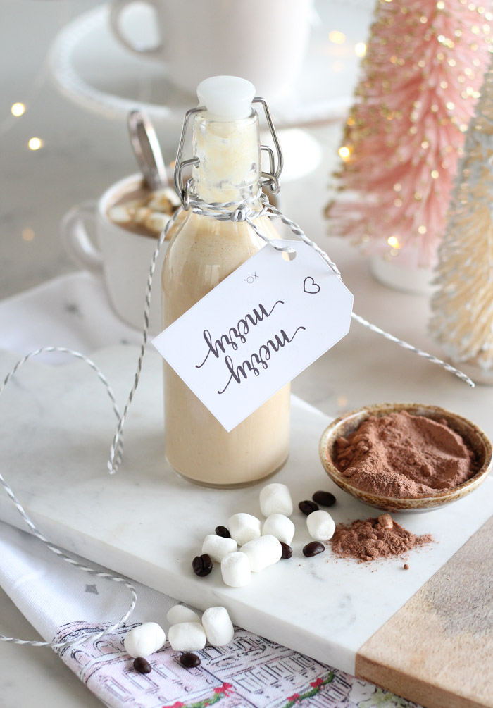 Homemade Toasted Marshmallow Mocha Creamer in Glass Bottle with Gift Tag