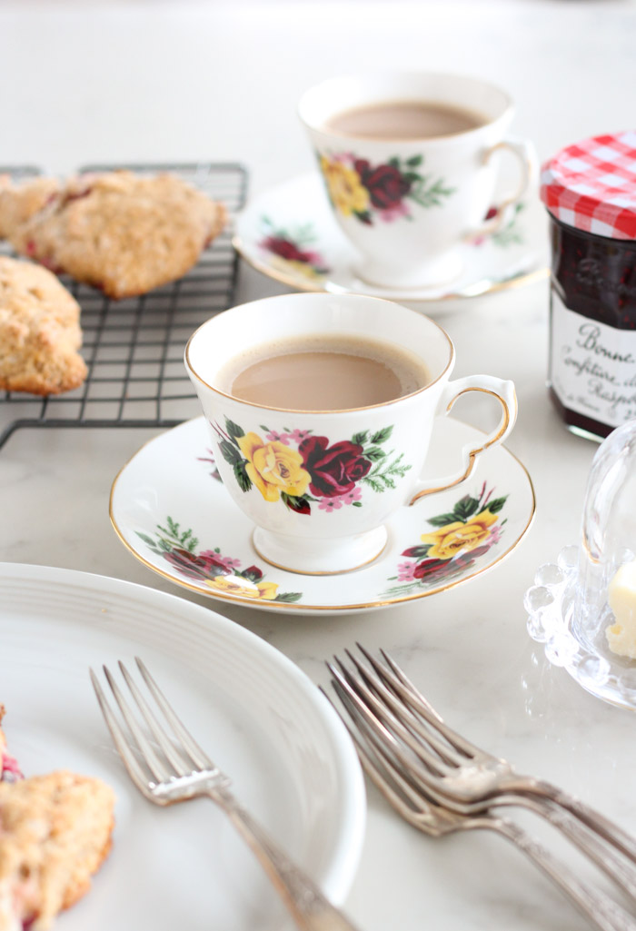 Coffee in White Vintage Floral Tea Cup with Cranberry Scones