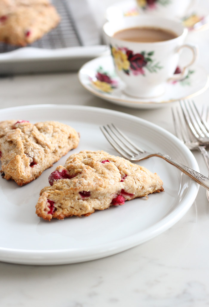 Cranberry Spice Scones on White Plate with Coffee in Vintage Floral Tea Cup