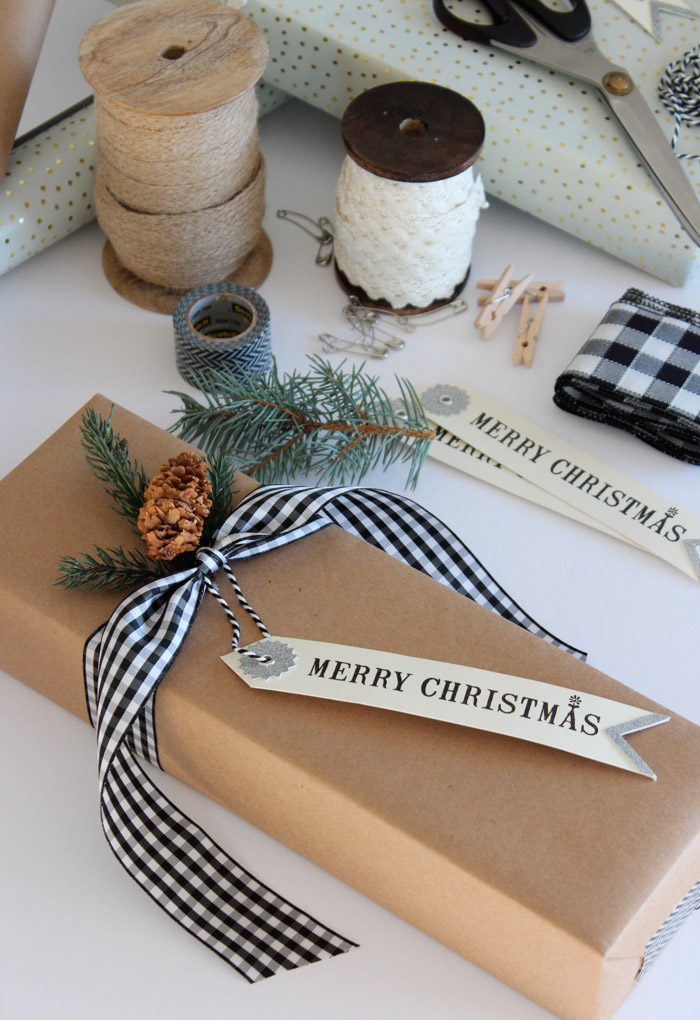 Easy Christmas Gift Wrapping Ideas Using Brown Kraft Paper, Mini Clothespins, Safety Pins, Ribbon and More