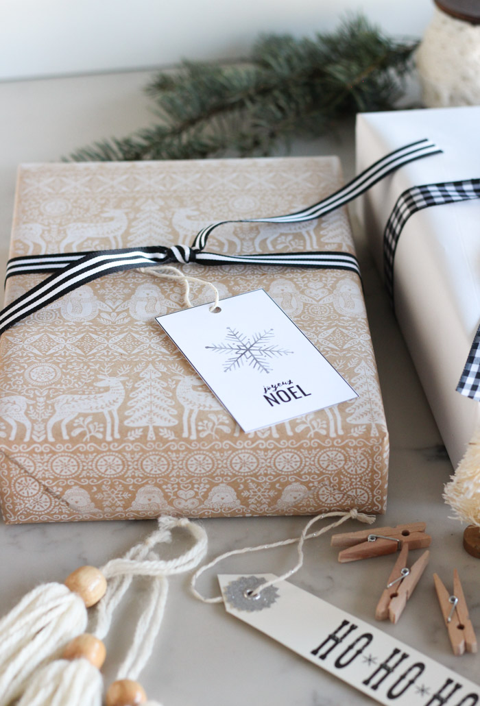 Scandinavian Christmas Gift Wrap with Kraft Paper, Snowflake Gift Tag and Black Ribbon