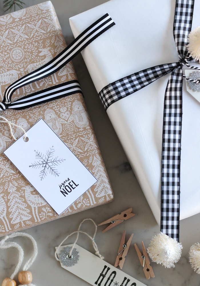 Simple Christmas Gift Wrap with Kraft Paper and Black and White Ribbon