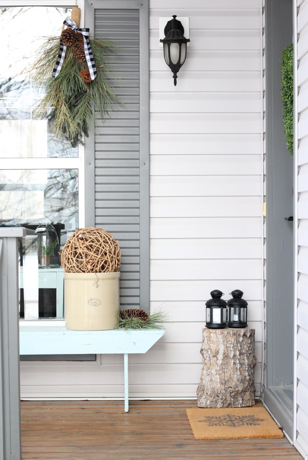 Winter Front Porch with Swag Wreath, Lanterns, Vintage Crock and More