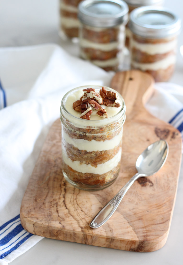 Layers of Carrot Cake and Cream Cheese Icing in Jar