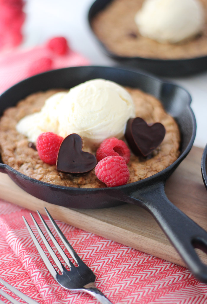 Mini Cast Iron Skillet with Chocolate Chunk Cookie Topped with Ice Cream
