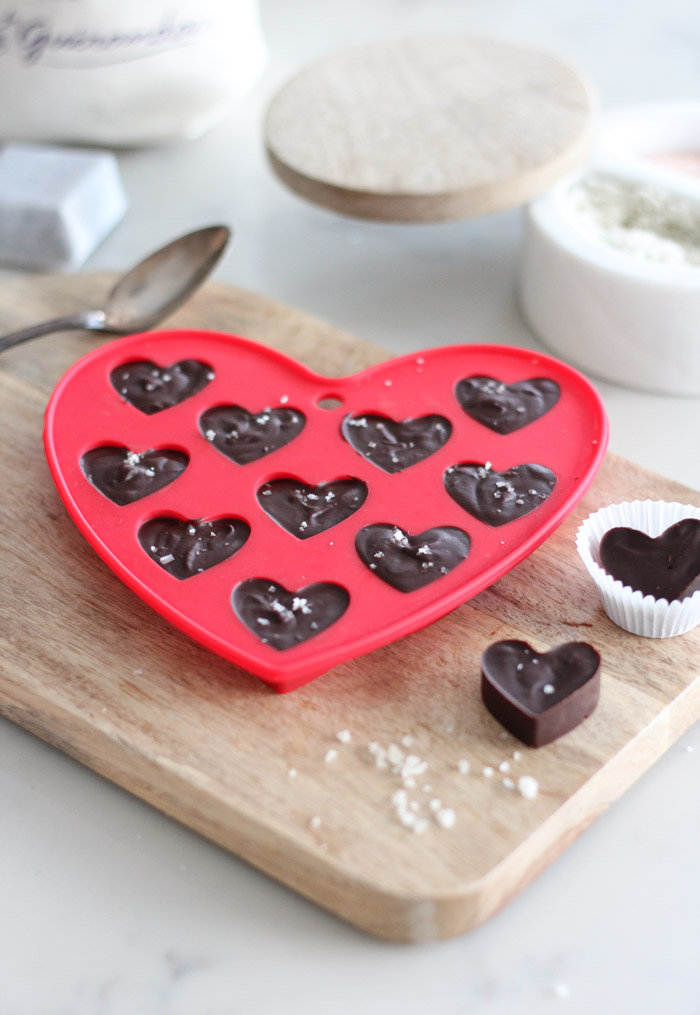Homemade Chocolate Truffles with Fleur de Sel in Heart Chocolate Mold