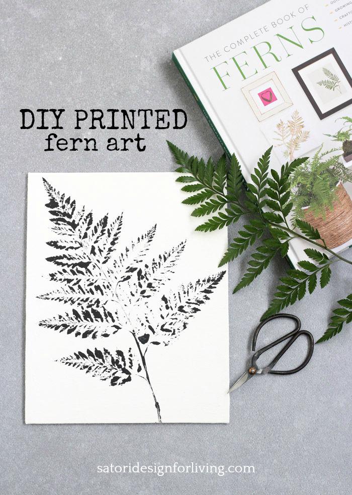 Black and White Printed Fern Art