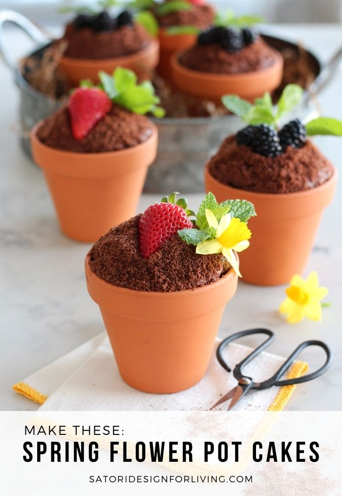 Flower Pot Cakes with Fresh Fruit, Mint and Flowers