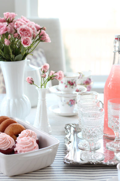 GALentine's Day Tea Party with Red Velvet Cupcakes, Milk Glass Vases and Vintage Tea Cups