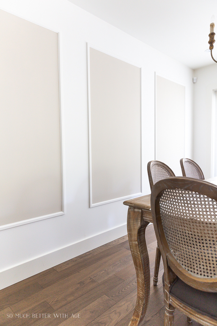 White Wall with Picture Frame Moulding Painted Benjamin Moore Edgecomb Gray Inside