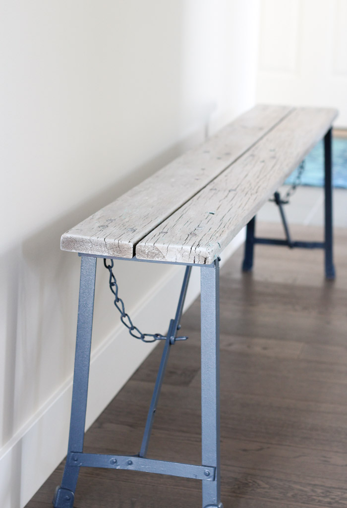 Whitewashed Wood Bench with Blue-Grey Metal Legs