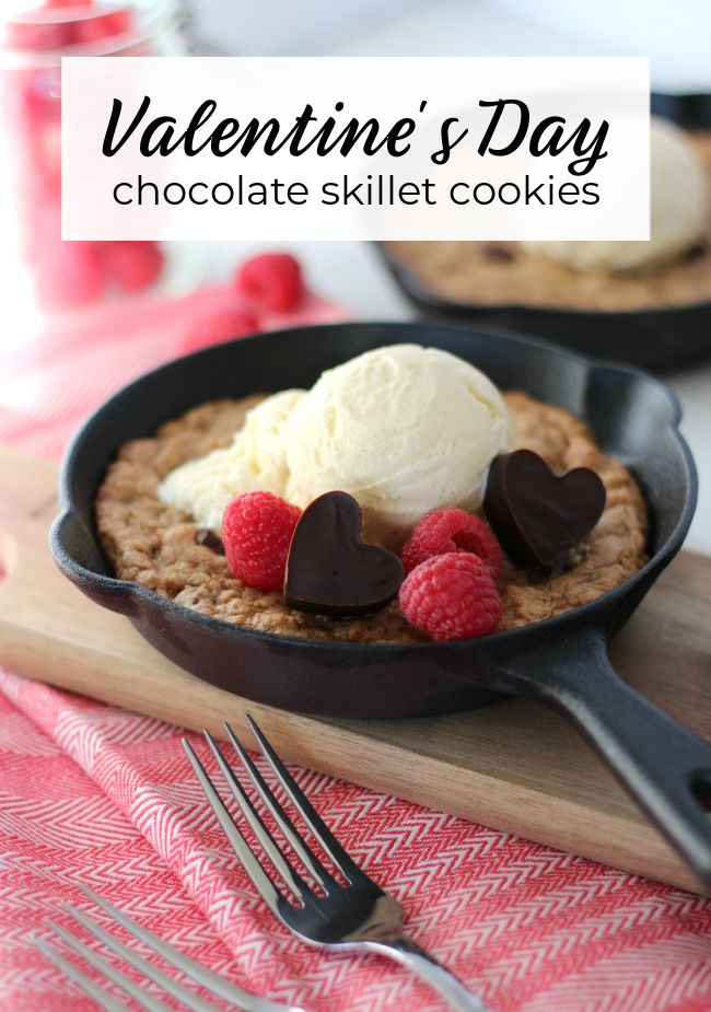 Chocolate Chunk Mini Cast Iron Skillet Cookies with Chocolate Heart Truffles and Ice Cream for Valentine's Day