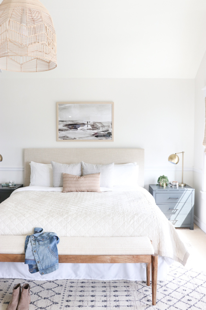 White Dove Bedroom Walls with Linen Headboard and Basket Light Fixture - City Farmhouse