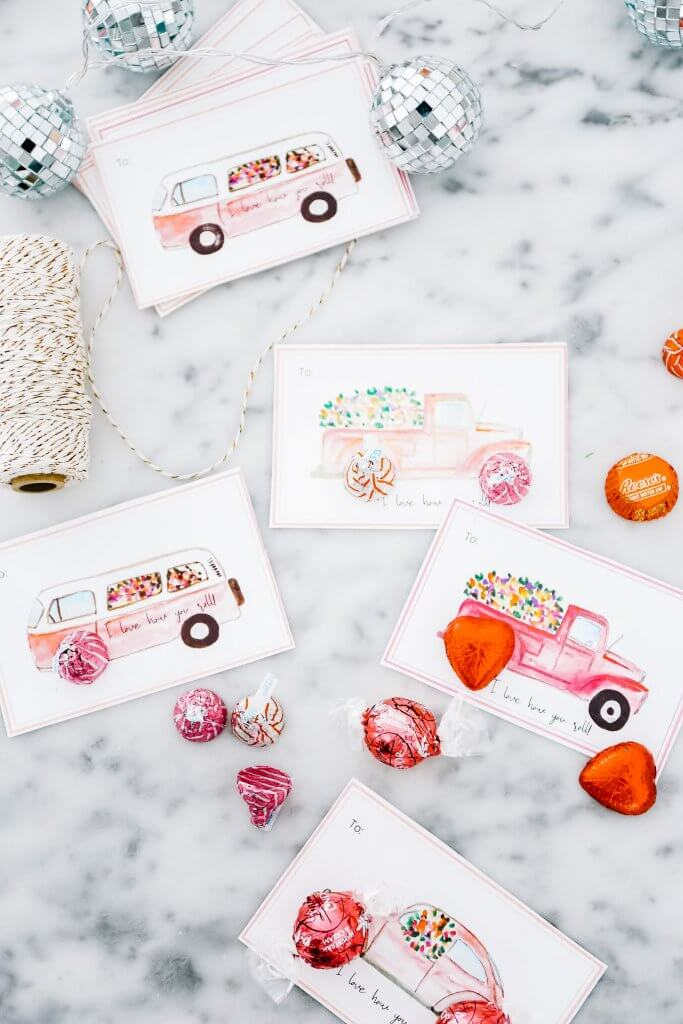 Hand-painted Valentine's Day Cards with Vintage Truck, Camper and Punch Bug Car