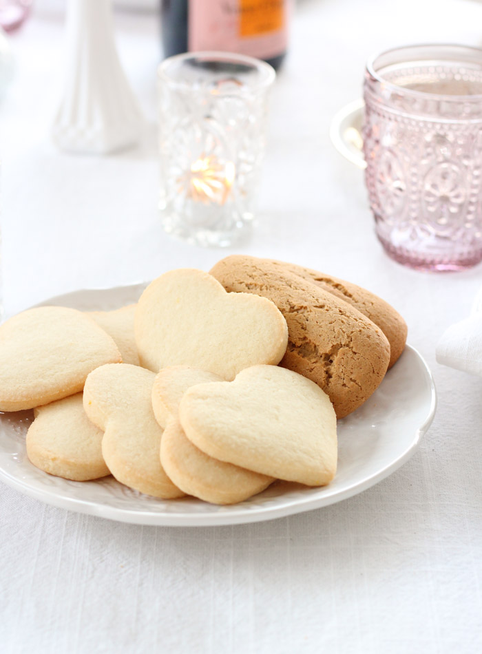 Heart Sugar Cookies for Valentine's Day on White Plate