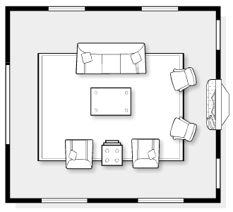 Living Room Space Plan with Sofa, Chairs, Area Rug and Fireplace