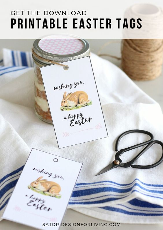 Printable Easter Tags with Bunnies and Hoppy Easter Message