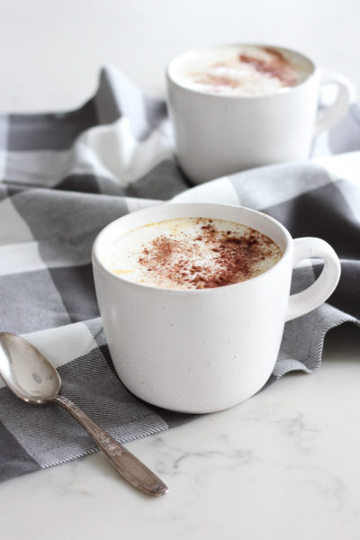 Homemade Pumpkin Spice Latte in White Mug