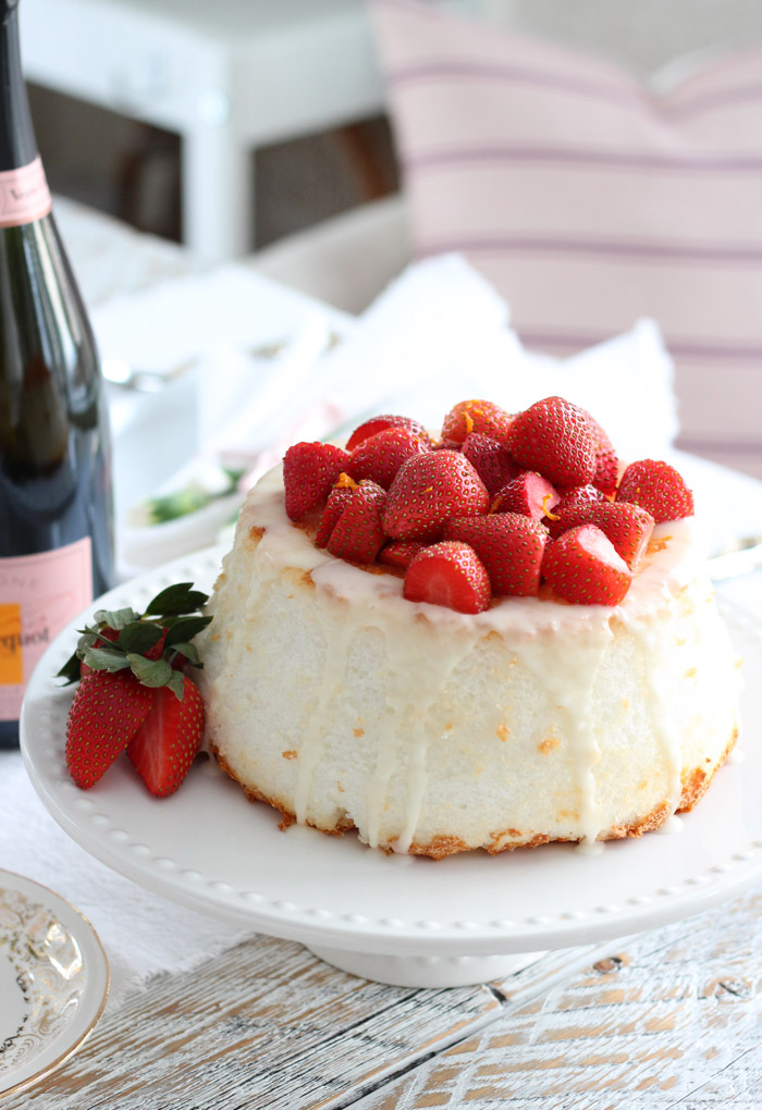 Strawberry Angle Food Cake on White Cake Stand for Valentine's Day
