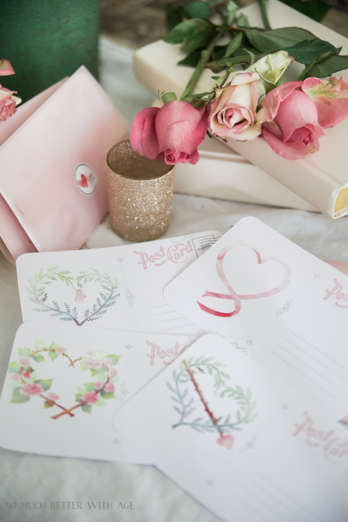 Watercolour Valentine's Day Postcards with Pink Vellum Envelopes