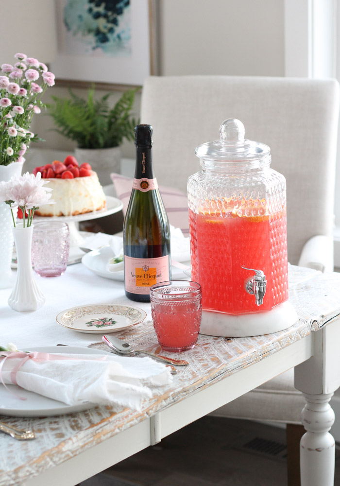 Pink Grapefruit Valentine's Day Punch in Glass Drink Canister with Pink Glass