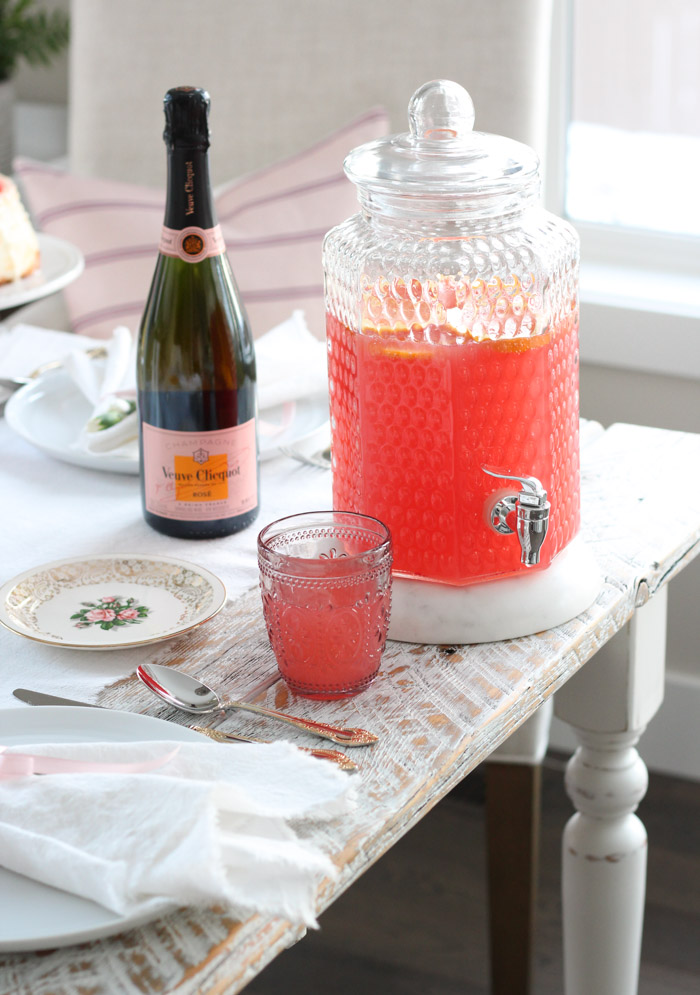 Pink Grapefruit Valentine's Day Punch in Glass Drink Canister