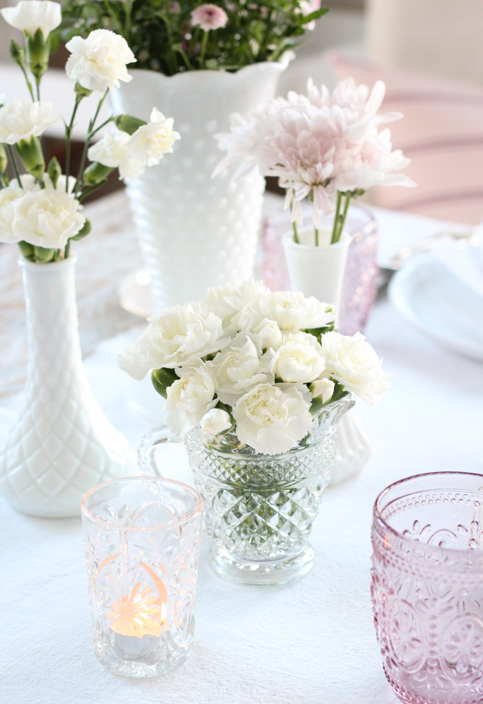 Valentine's Day Table Setting with White Carnations in Vintage Depression Glass Creamer by Anchor Hocking
