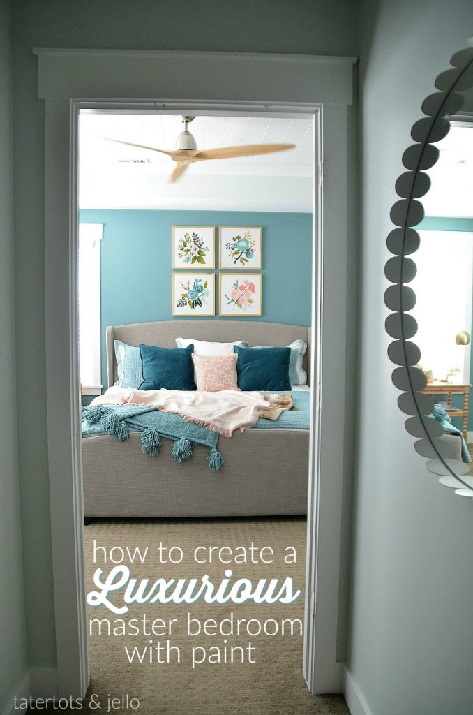 Colourful Bedroom Walls Painted in Dragonfly by Behr - Tatertots and Jello