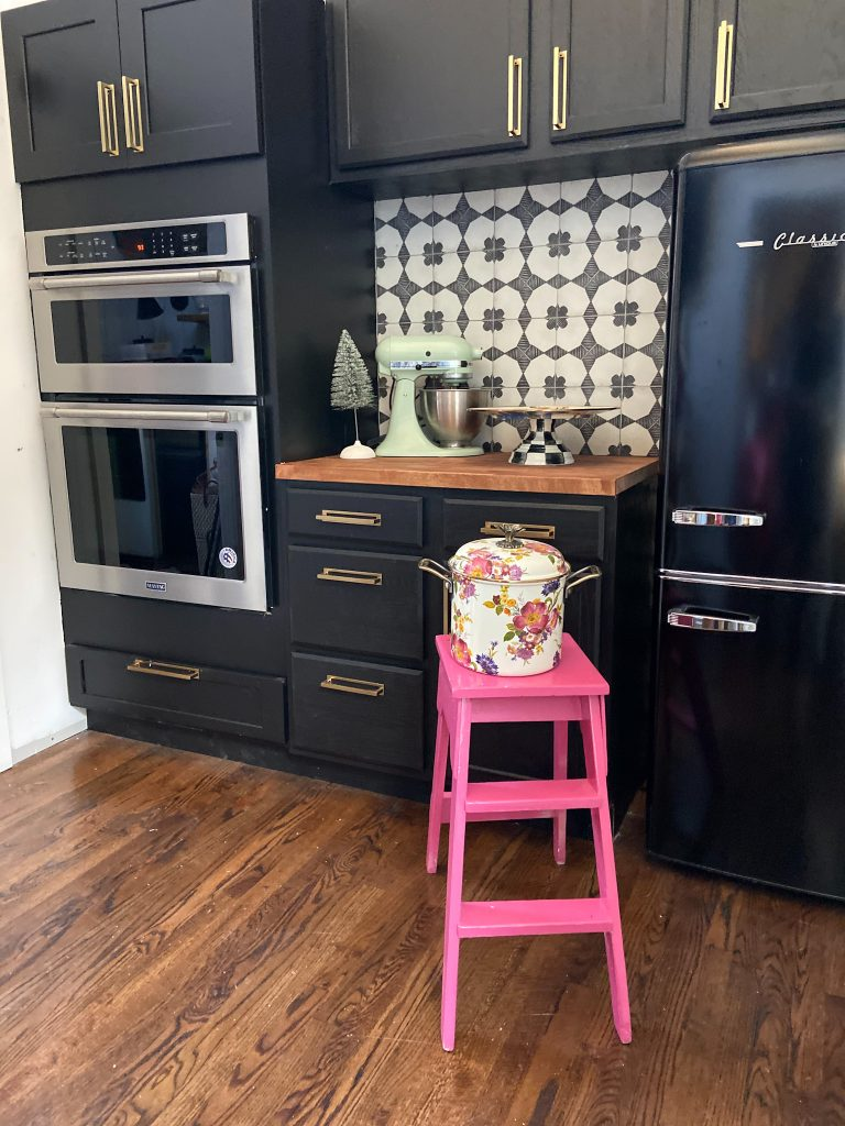 Butler's Pantry with Black Cabinets and Patterned Cement Tile Backsplash - Tatertots and Jello